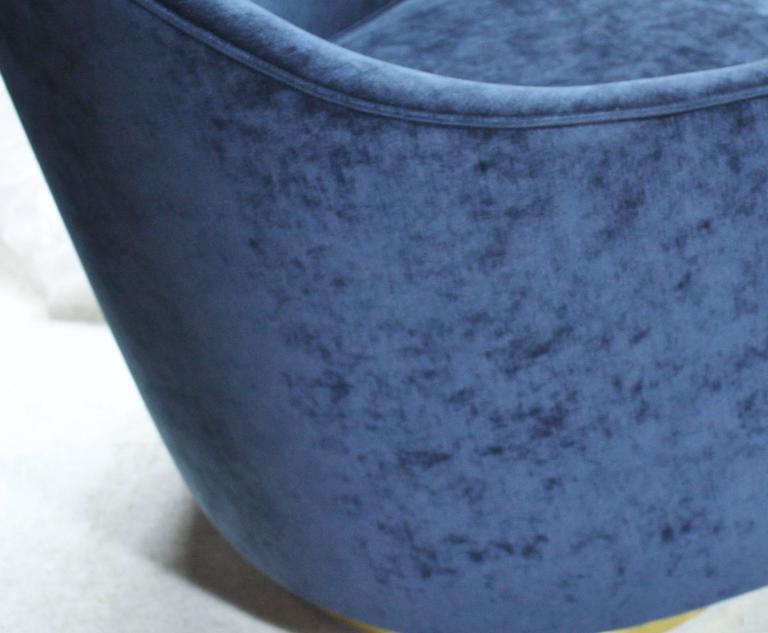 Milo Baughman Teardrop Swivel Chairs in Blue and Gold 6
