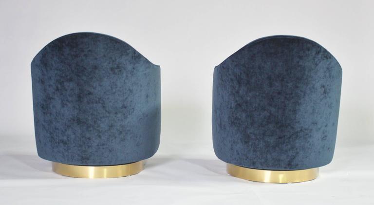 Milo Baughman Teardrop Swivel Chairs in Blue and Gold 3