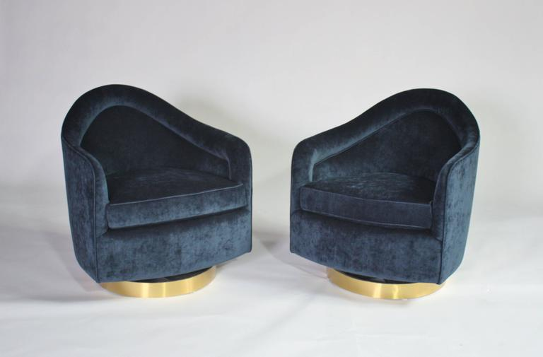 Milo Baughman Teardrop Swivel Chairs in Blue and Gold 4