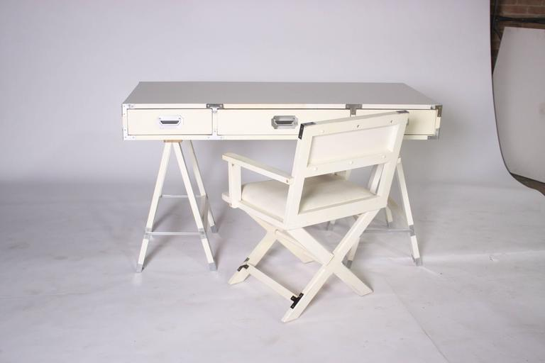 Wood Bernhardt Campaign Style Desk and Chair For Sale