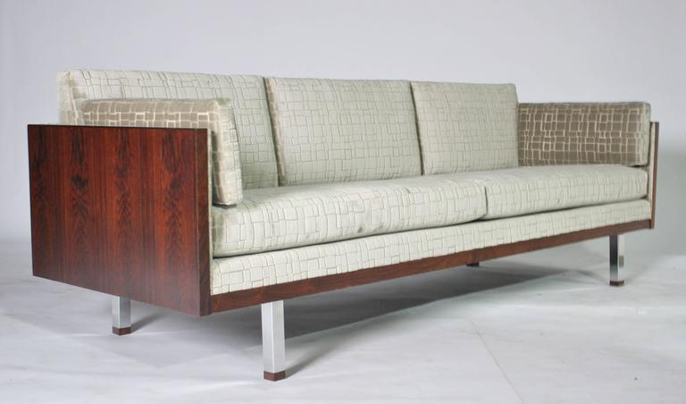 Late 20th Century Rosewood Case Tuxedo Sofa For Sale