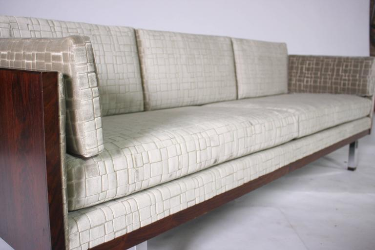Mid-Century Modern Rosewood Case Tuxedo Sofa For Sale