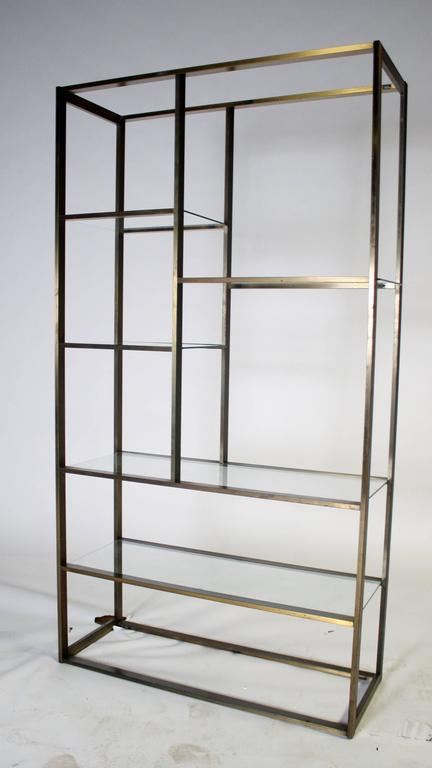 Mid-Century Modern Bronze and Glass Etagere Attributed to Milo Baughman For Sale