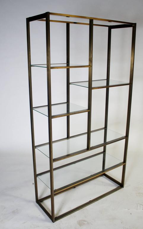 Bronze and Glass Etagere Attributed to Milo Baughman In Good Condition For Sale In Chicago, IL