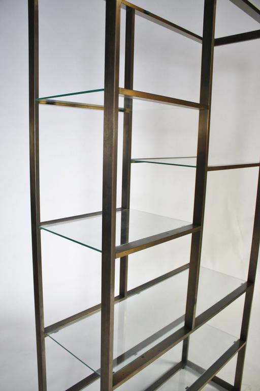 Bronze and Glass Etagere Attributed to Milo Baughman For Sale 1