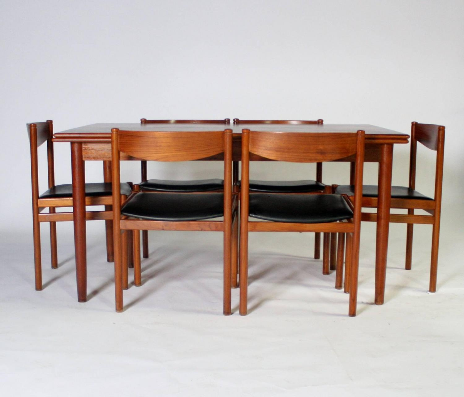 danish modern expandable dining table and chairs for sale at 1stdibs. Black Bedroom Furniture Sets. Home Design Ideas