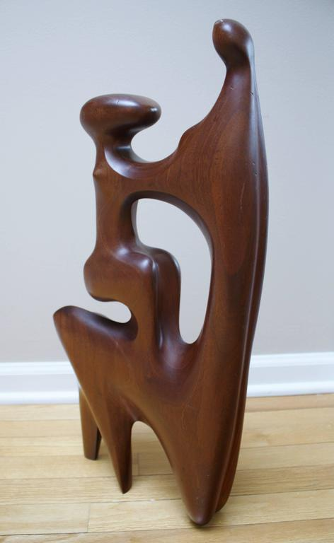 Large Abstract Mother and Child Wood Sculpture In Excellent Condition For Sale In Chicago, IL