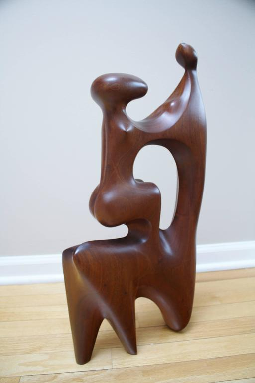 Large Abstract Mother and Child Wood Sculpture 5