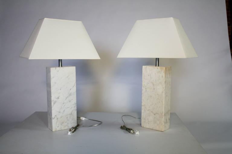 Pair of Marble Lamps by Nessen 4