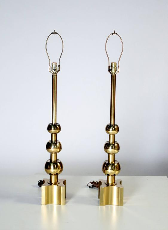 American Pair of Brass Stacked Orb Tables Lamps by Stiffel For Sale
