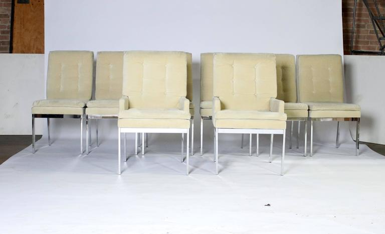 1970s chrome frame dining chairs with champagne color tufted upholstery. Very clean chrome and fabric with very little signs of age. All rubber glides intact and labels underneath the chair.