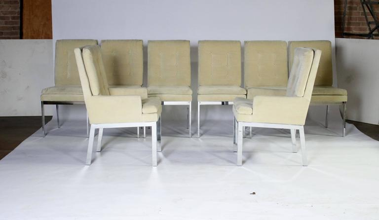 Fabric Milo Baughman DIA Dining Chairs Set of Eight For Sale