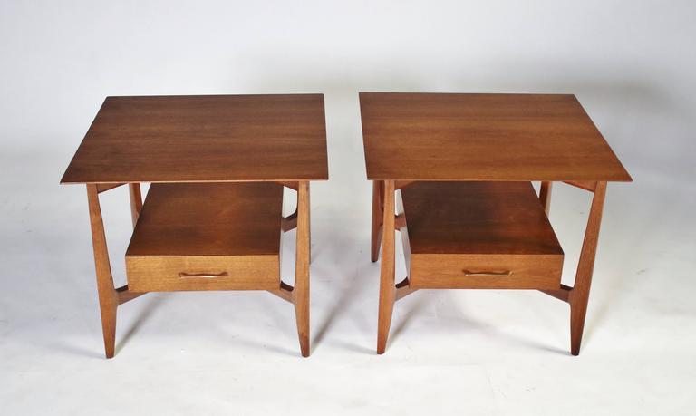 Mid-Century Modern John Stuart Single Drawer End Tables Nightstands For Sale