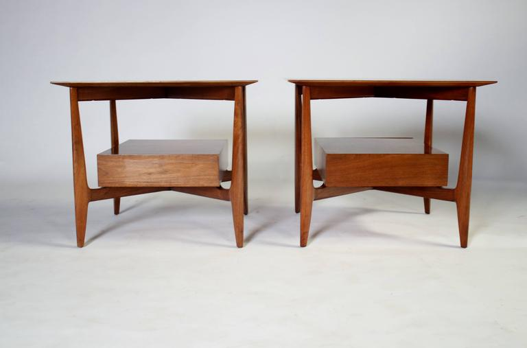 Mid-20th Century John Stuart Single Drawer End Tables Nightstands For Sale