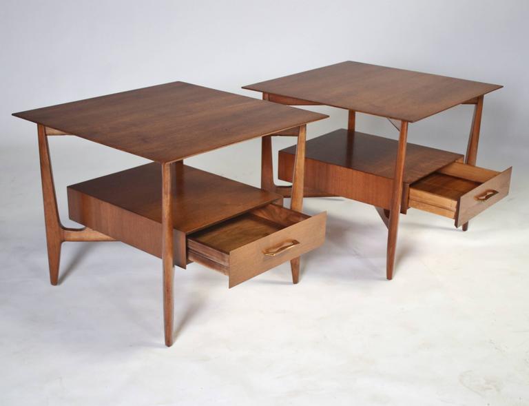 Walnut John Stuart Single Drawer End Tables Nightstands For Sale