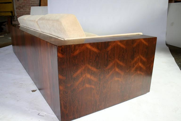 Upholstery Milo Baughman Rosewood Case Sofa for Thayer Coggin For Sale