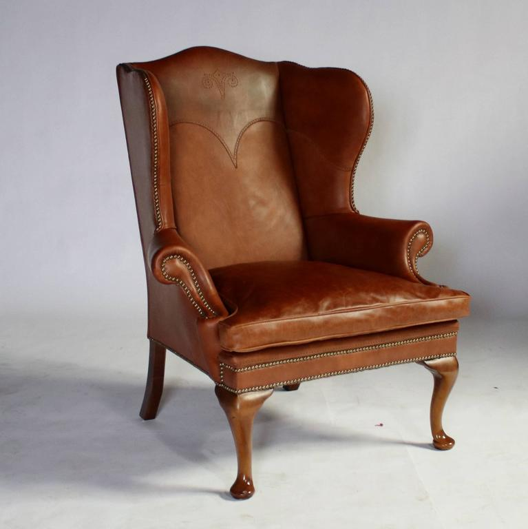 George I Style Wingback Leather Chair By Ralph Lauren With Cabriolet Walnut  Legs And Nailheads Throughout