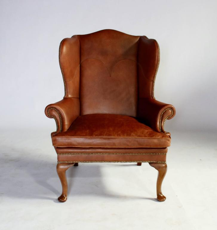 George I Ralph Lauren Leather Wingback Chair For Sale