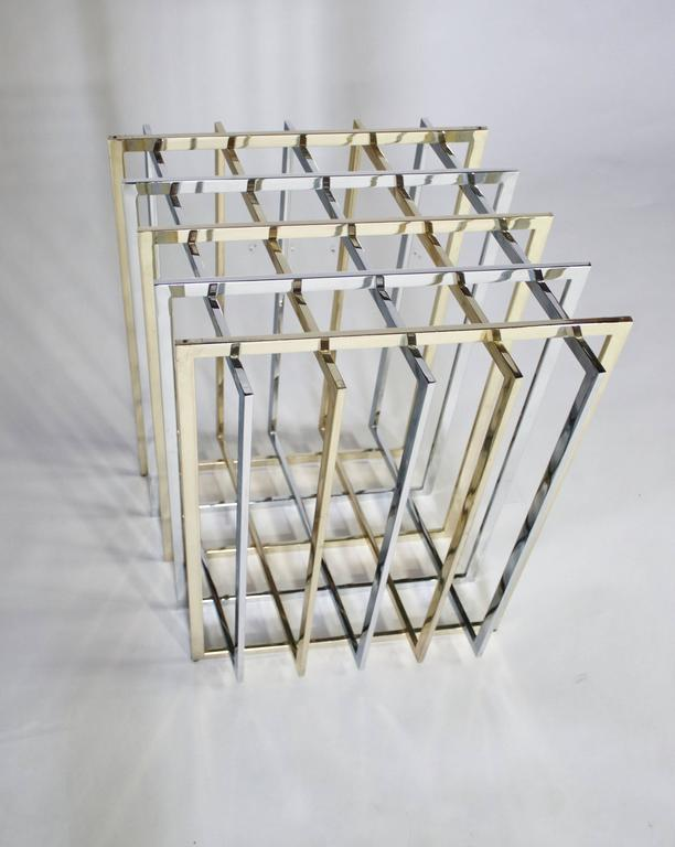 Pierre Cardin Mixed Chrome and Brass Grid Table 4