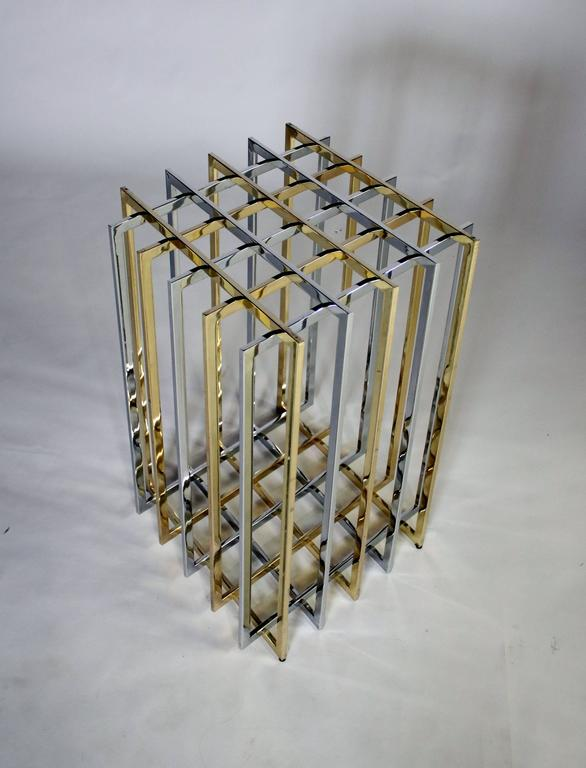 Pierre Cardin Mixed Chrome and Brass Grid Table 3