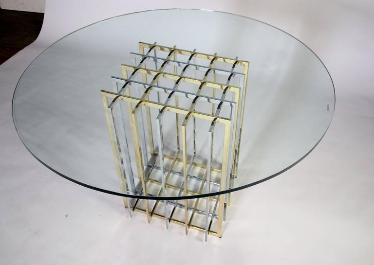Pierre Cardin Mixed Chrome and Brass Grid Table 5