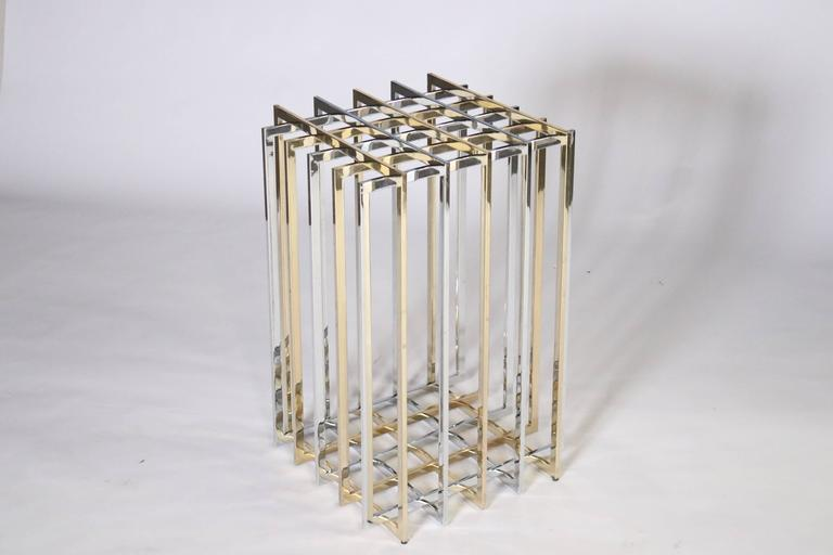 Pierre Cardin Mixed Chrome and Brass Grid Table 8