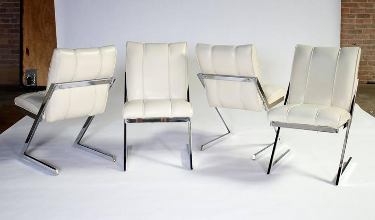 "Style of Milo Baughman ""Z- Frame"" Dining Chairs, Set of Four, by Contempo 5"