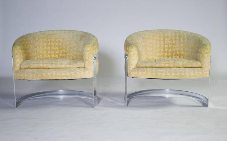 Milo Baughman Mid-Century Modern Cantilevered Chrome Barrel Chairs 2