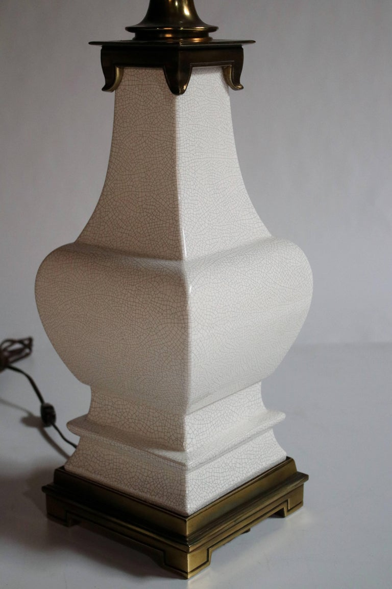 Asian Style White Crackle Ceramic Lamp by Stiffel 6