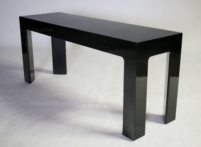 Oak Parson Style Black Lacquered Console Table and Benches For Sale