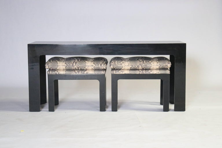 Parson Style Black Lacquered Console Table and Benches For Sale 2