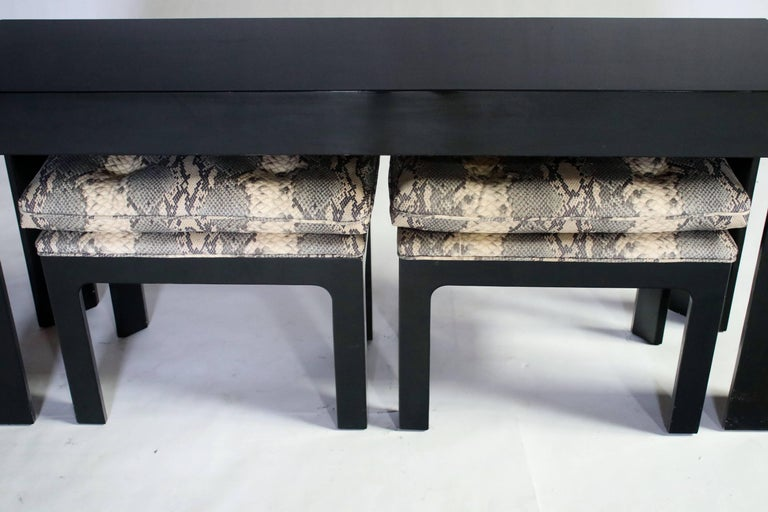 Parson Style Black Lacquered Console Table and Benches For Sale 4