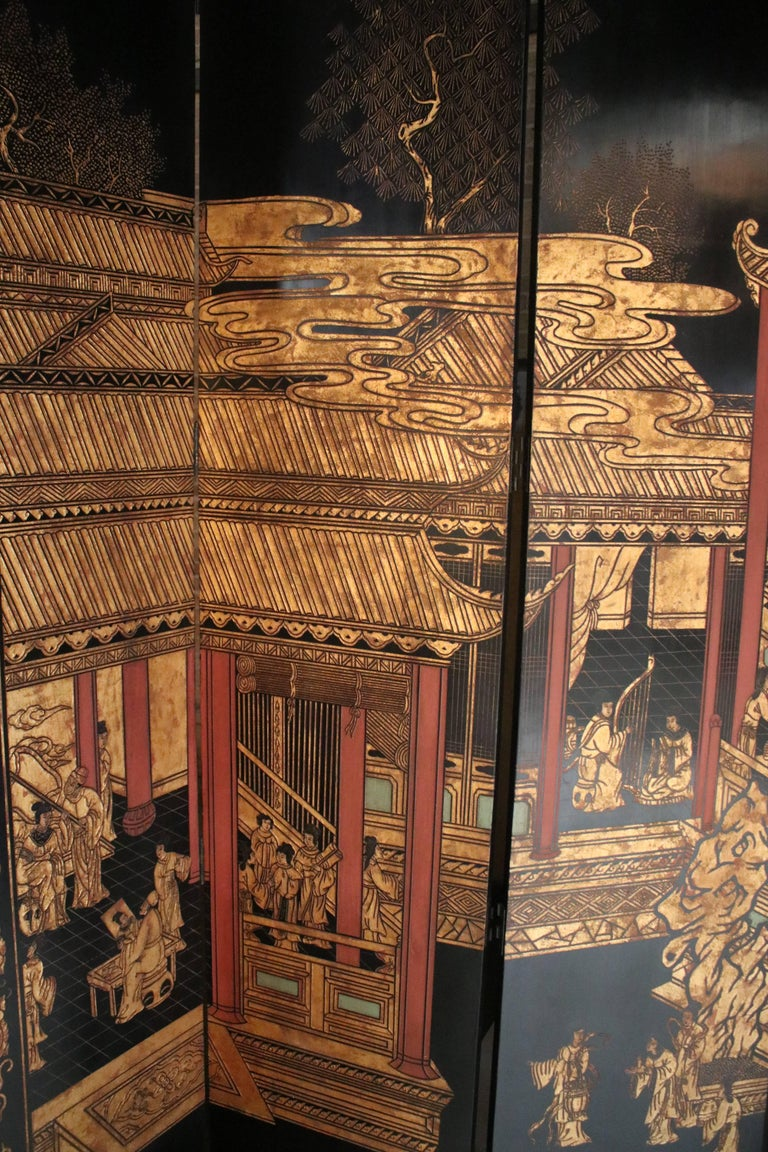 Lacquered 12-Panel Coromandel Double Sided Chinese Screen For Sale