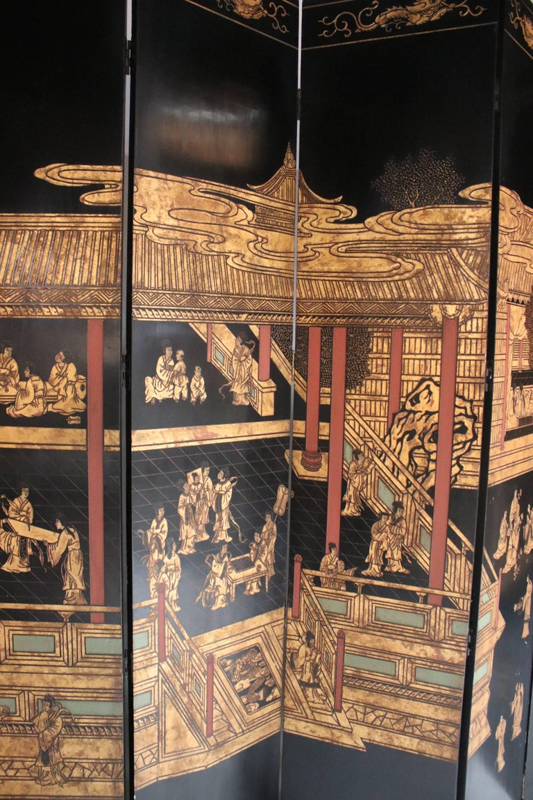 12-Panel Coromandel Double Sided Chinese Screen In Good Condition For Sale In Chicago, IL