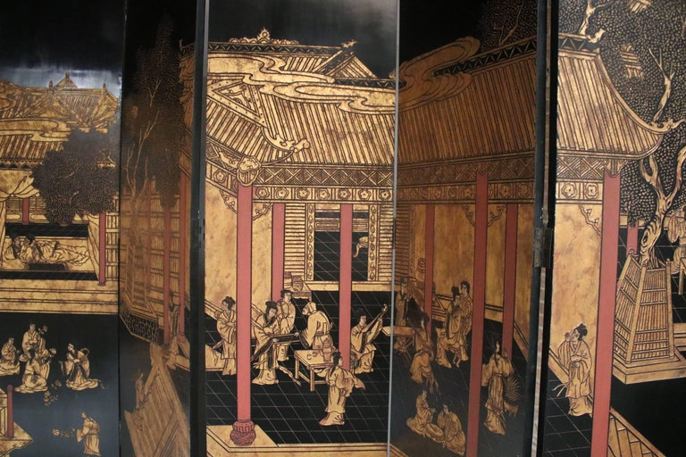 20th Century 12-Panel Coromandel Double Sided Chinese Screen For Sale