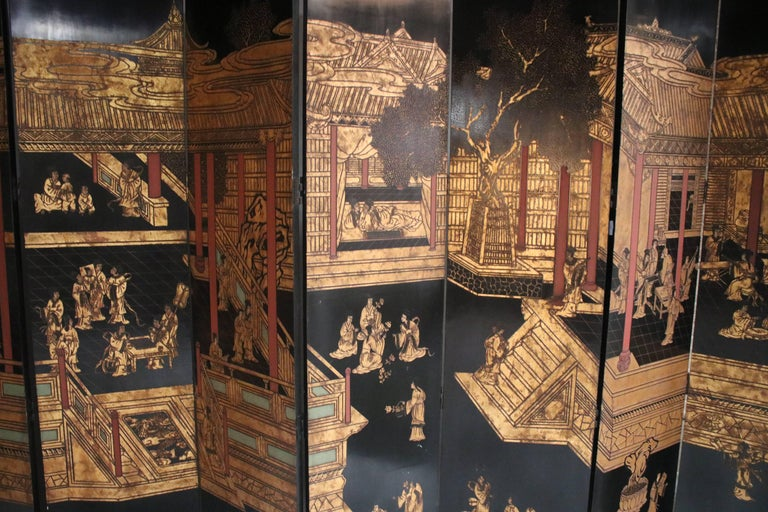 Wood 12-Panel Coromandel Double Sided Chinese Screen For Sale