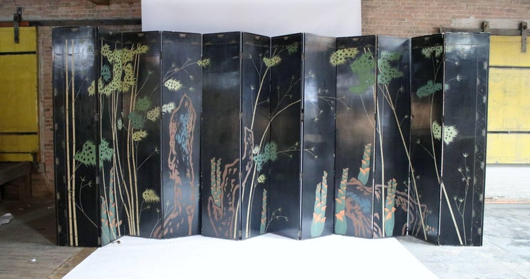 12-Panel Coromandel Double Sided Chinese Screen For Sale 1