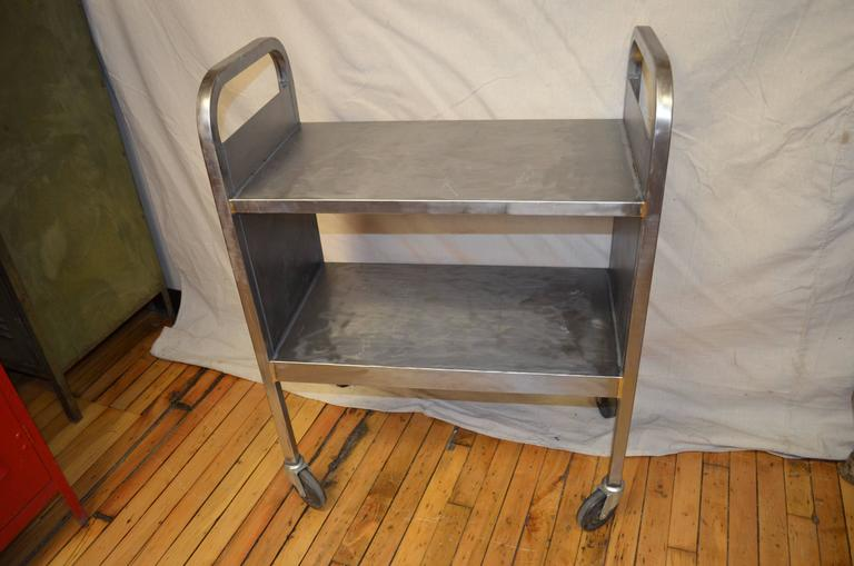 Midcentury, Stainless Steel Wheeled Cart For Books, Plants