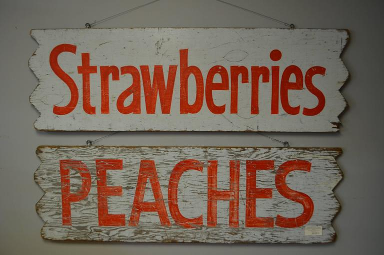 Pair of Farm Produce Signs, Hand-Lettered from the 1950s 2