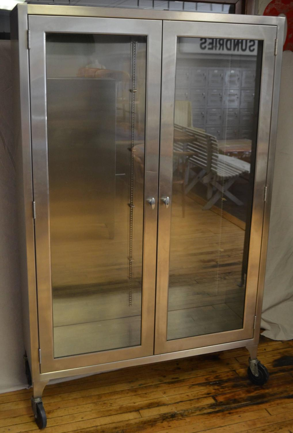 Medical Dental Apothecary Lab Cabinet Lighted Two Door