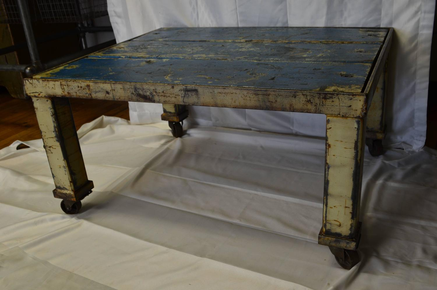 Coffee Table With Wooden Top Inset Into Industrial Steel Frame On