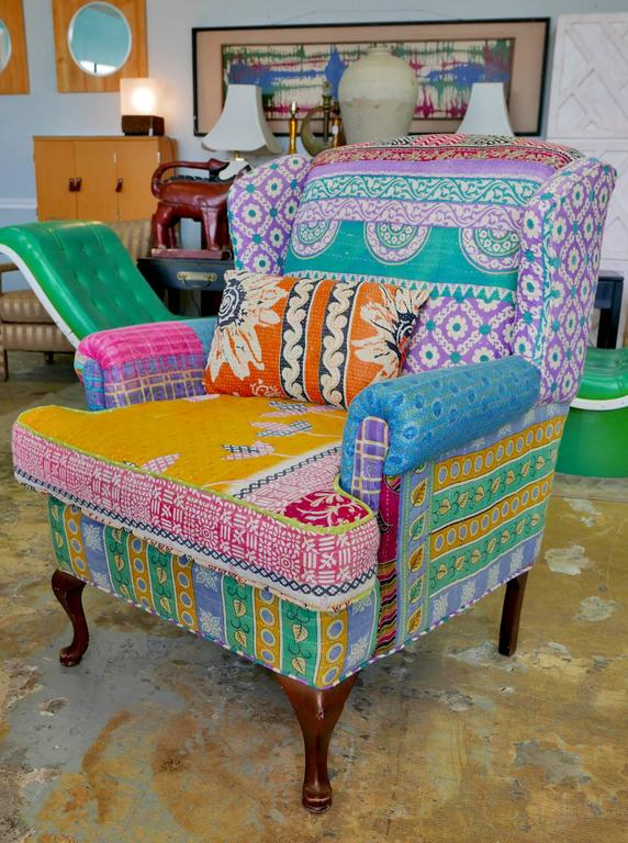 Sofa Chair With Wings Has Been Upholstered In Multiple Colored Fabrics The Bohemian Style