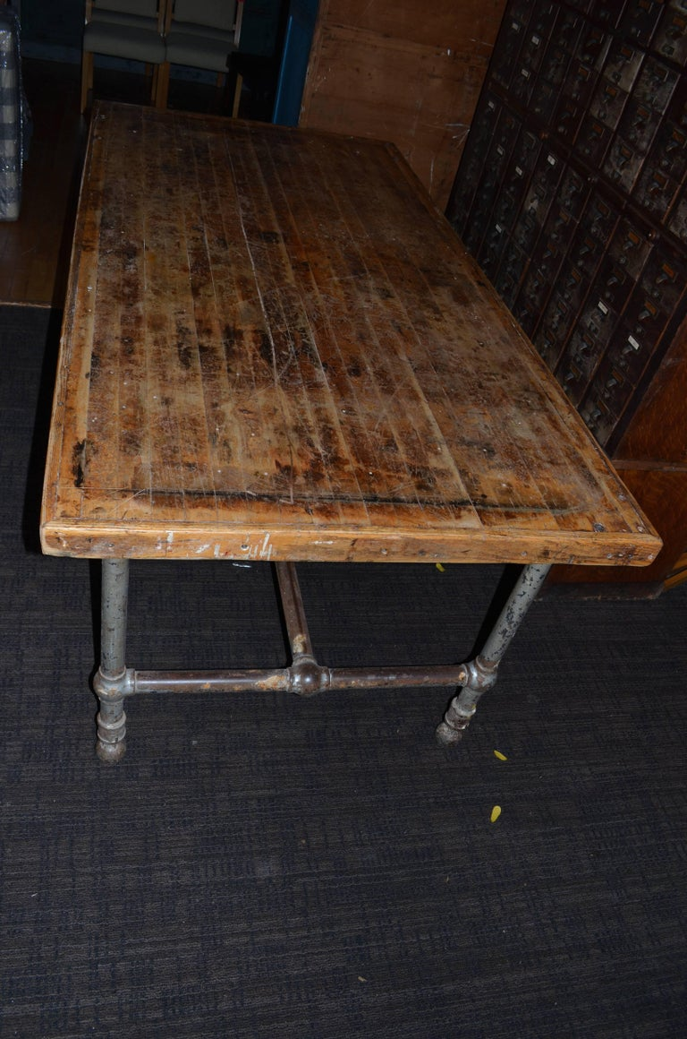 Dining Table Kitchen Island From Restaurant With Oak Top And Steel Frame For Sale At 1stdibs