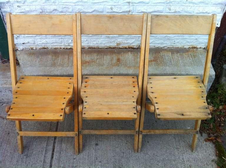 Mid-Century Modern Set of 4 Vintage Wood Folding Chairs; 45 sets available ( - Set Of 4 Vintage Wood Folding Chairs; 45 Sets Available (or 140