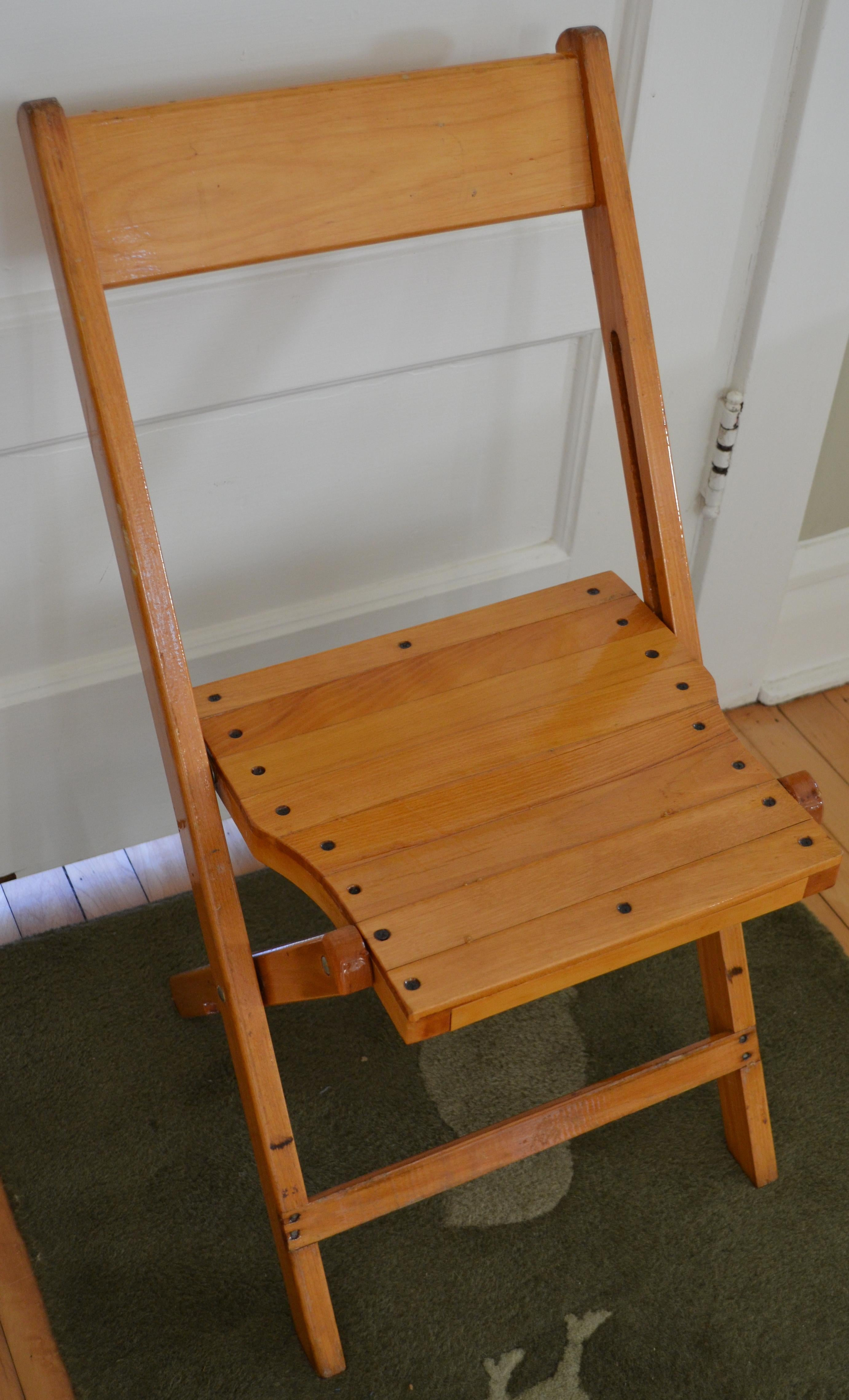 Mid Century Modern Set Of 4 Vintage Wood Folding Chairs; Many Available  (total