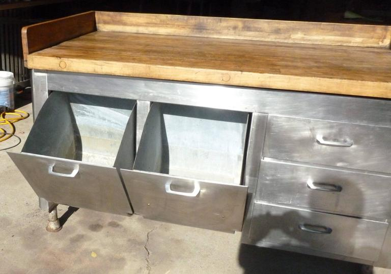 Butcher block steel commercial kitchen 1930s baking island cabinet at 1stdibs - Industrial kitchen island for sale ...