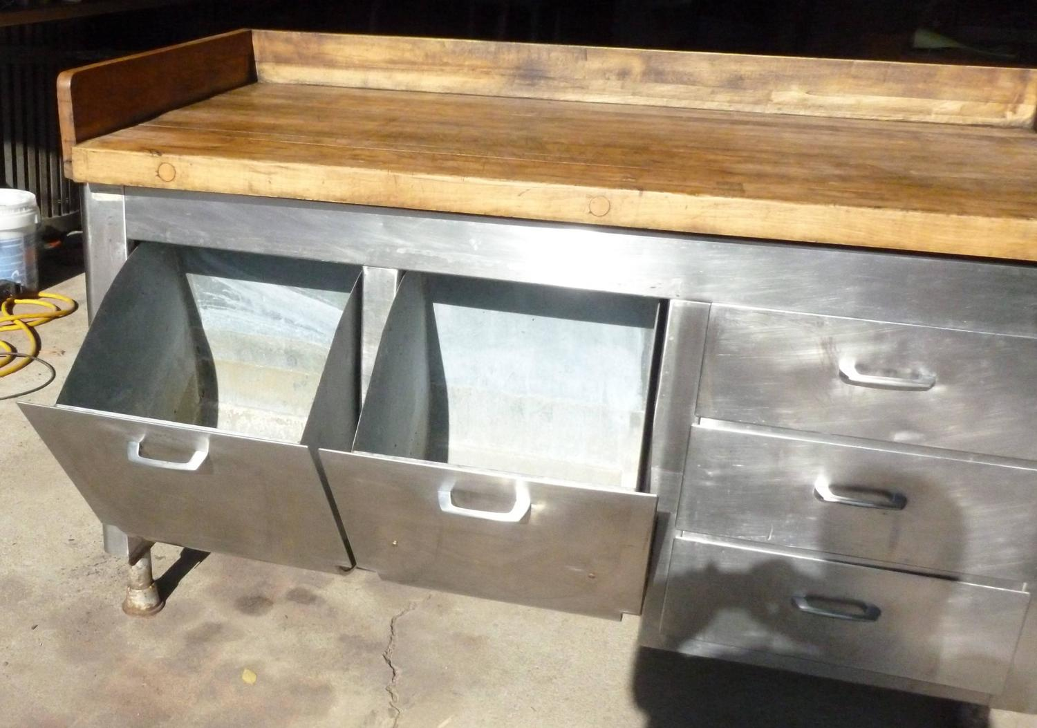 butcher block steel commercial kitchen 1930s baking commercial kitchen island home architecture