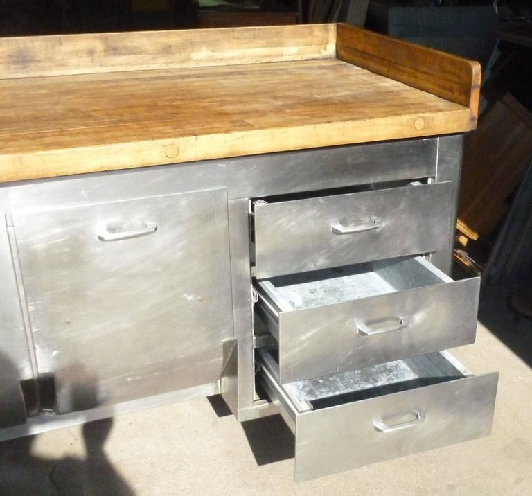 Used Kitchen Island For Sale: Butcher Block Steel Commercial Kitchen, 1930s, Baking