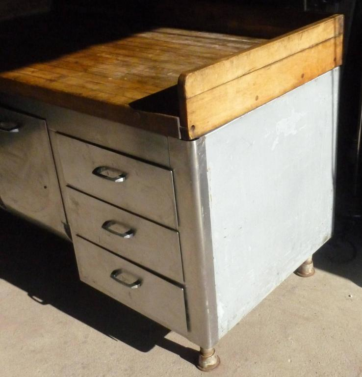 Commercial Kitchen Island: Butcher Block Steel Commercial Kitchen, 1930s, Baking