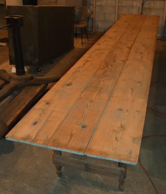 100 Year Old Harvest Table 16 Ft Long Of Old Growth Pine